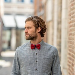Knitted bow tie  Red and Blue