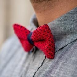 Nœud papillon tricot   Rouge et Bleu