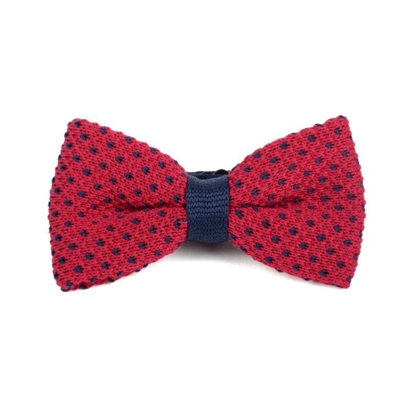 Red and blue cotton knit bow tie