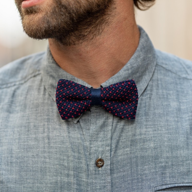Knitted bow tie  Navy and Red