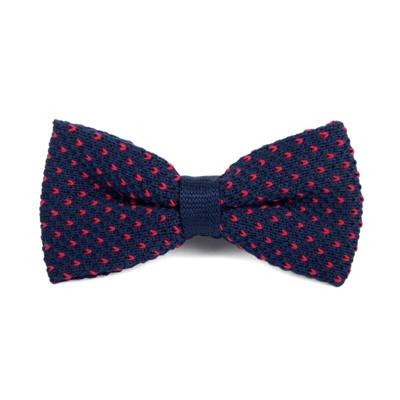 Navy and Red cotton knit bow tie