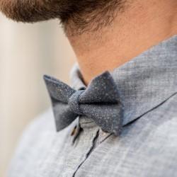 Wool bow tie  Grey and Multicolor