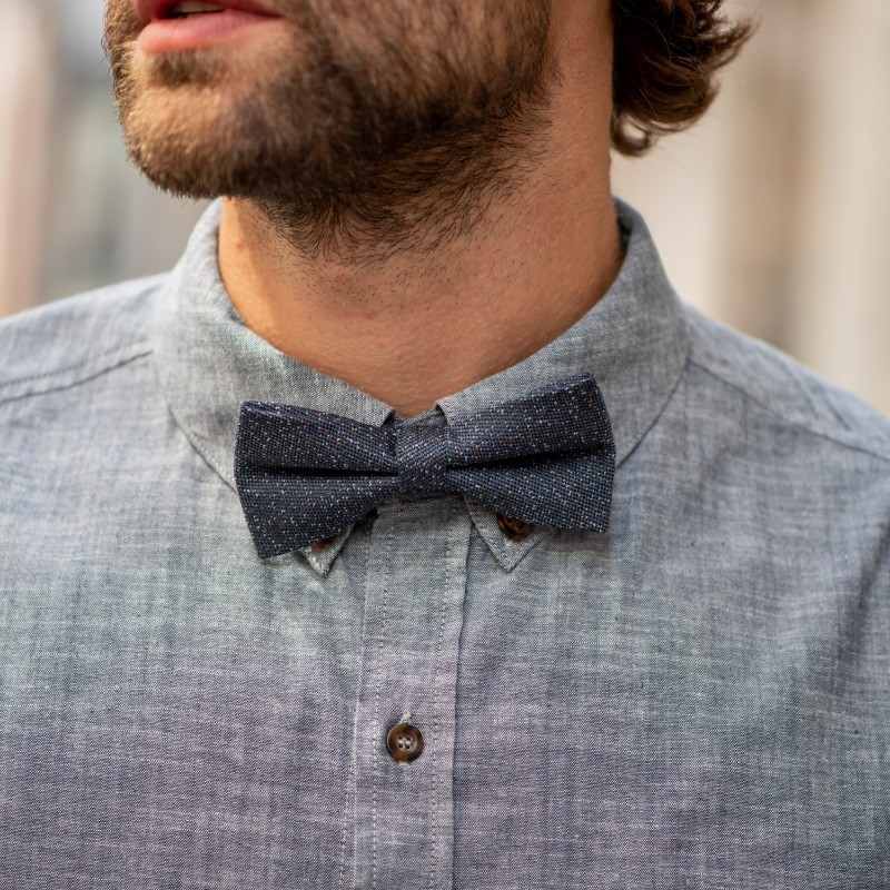 Wool bow tie  Grey and Multicolor