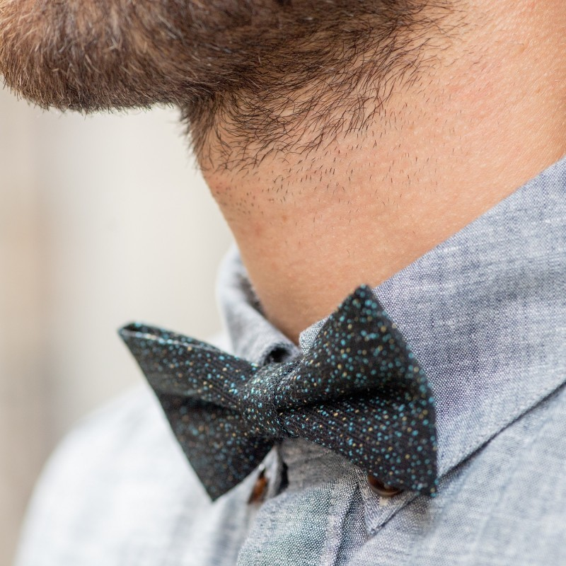 Wool bow tie  Black and sky blue