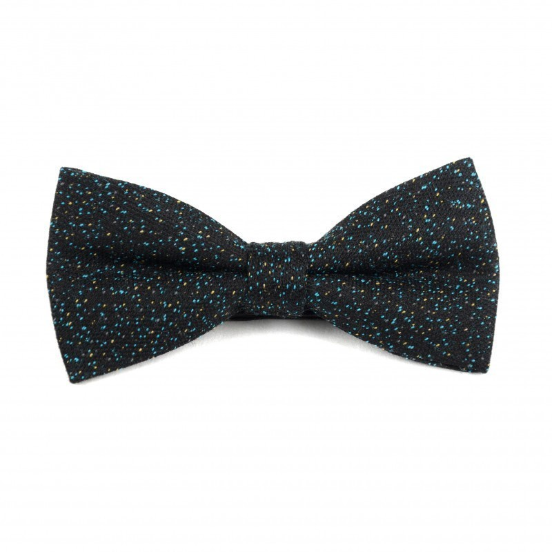 black and blue wool bow tie
