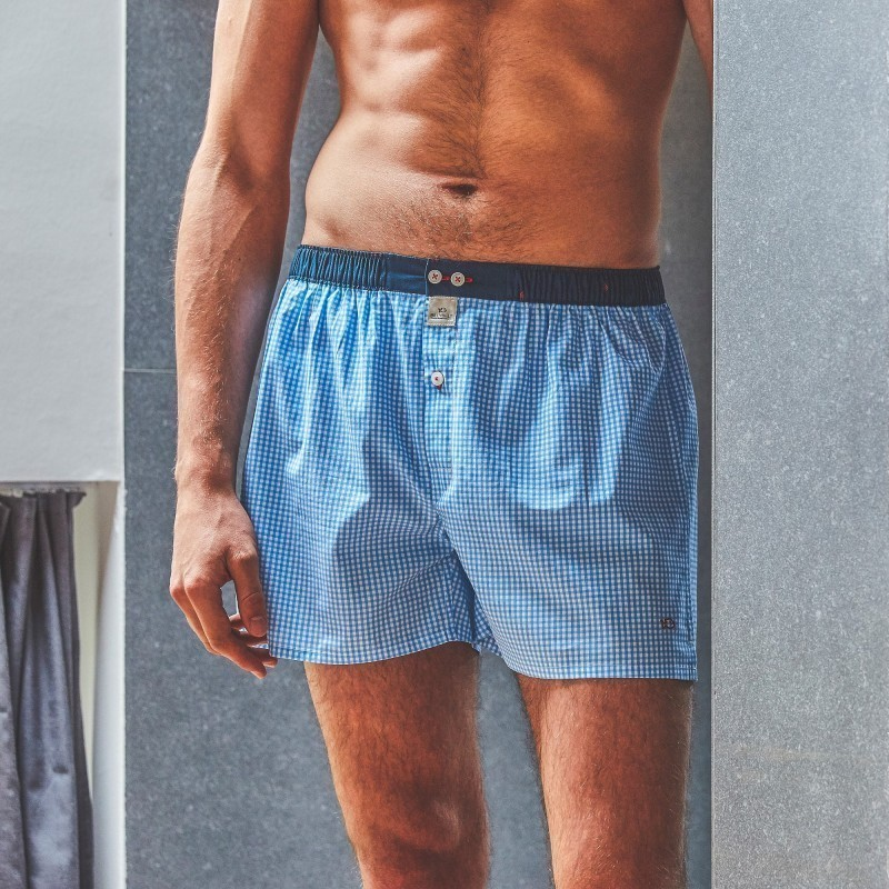 Organic cotton boxer shorts  Blue Gingham