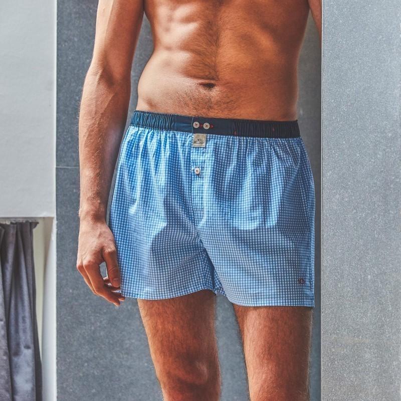 Organic cotton boxer shorts  Blue Gingham