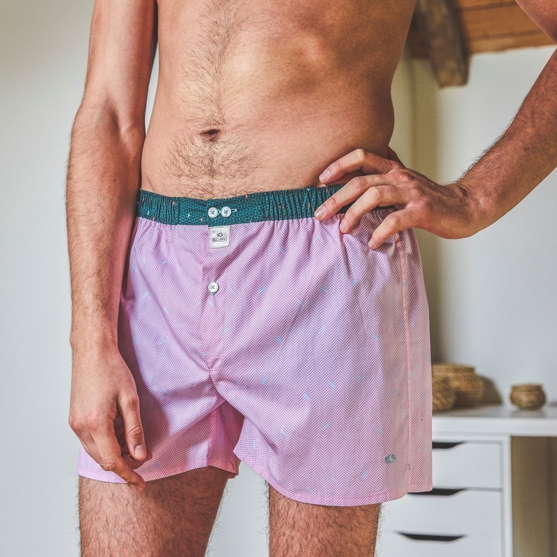 Organic cotton boxer shorts  Pink Herringbone