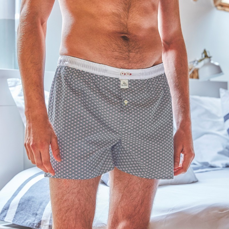 Organic cotton boxer shorts  Blue Wave