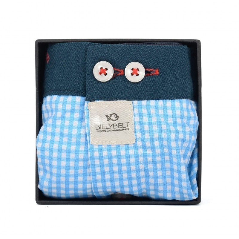 Men organic cotton boxer shorts Blue Gingham