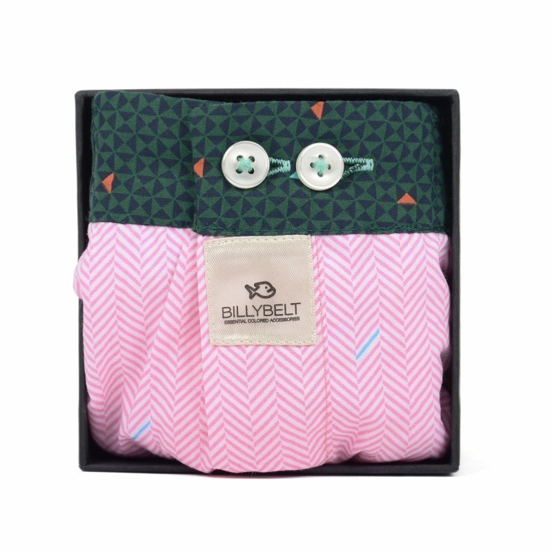 Men organic cotton boxer shorts Pink Herringbone