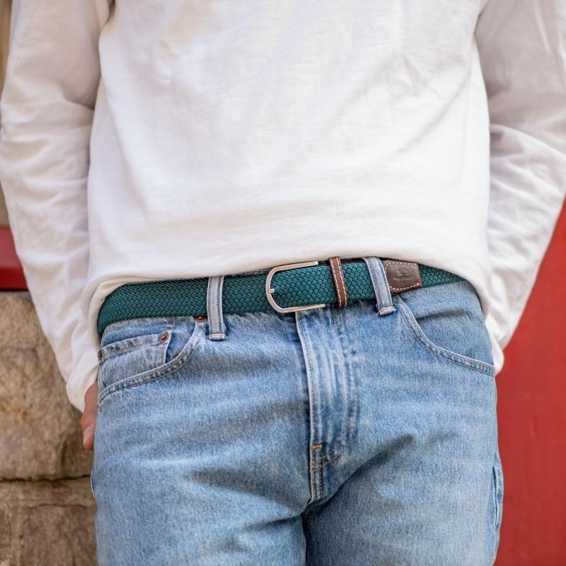 Elastic woven belt  Caribbean Blue