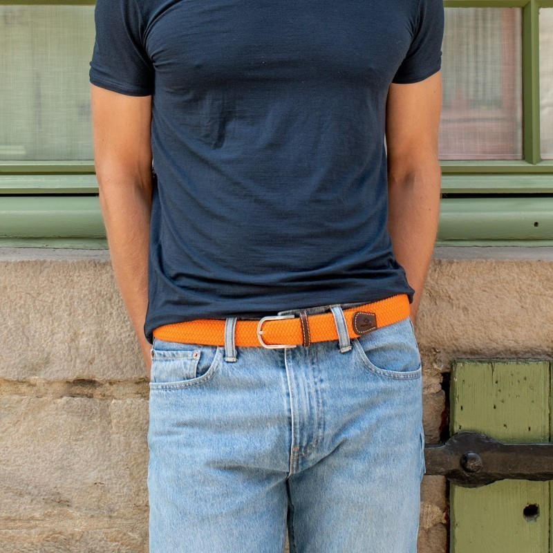 Elastic woven belt  Paprika Orange