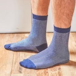 Chaussettes coton  Chevrons Bleu foncé