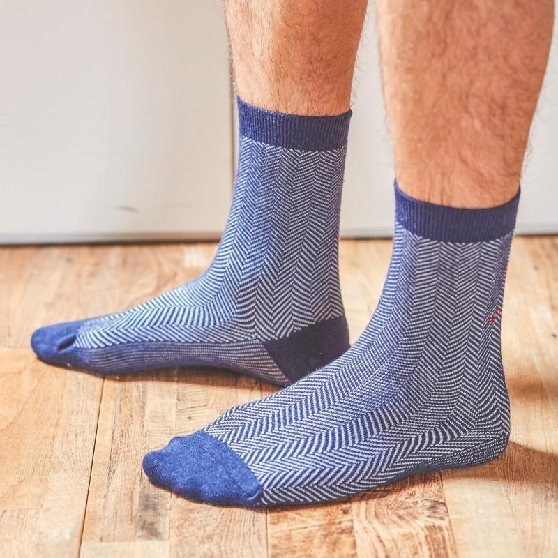 Cotton socks  Dark Blue Herringbone