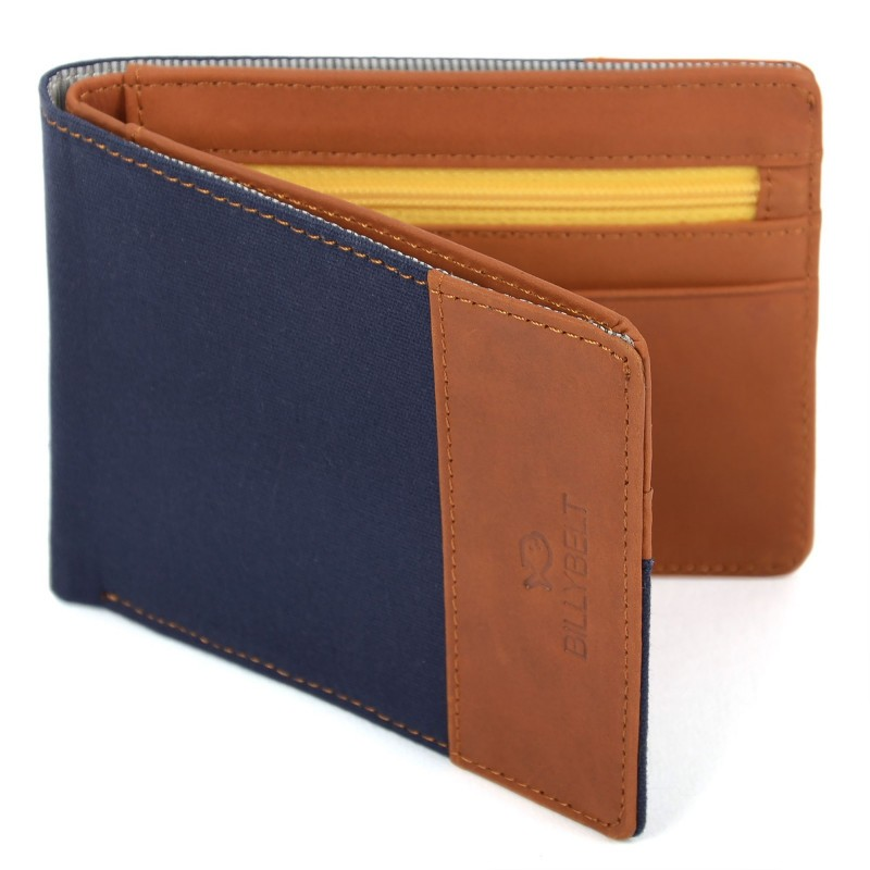 leather and cotton  wallet  Navy Blue