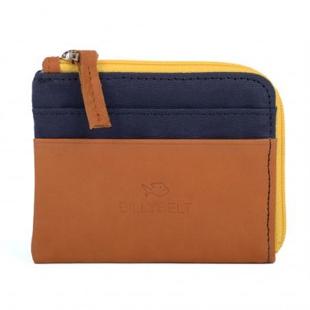 Carte Bleue Zip.Porte Cartes Avec Poche Zippee Bleu Marine En Coton Et En