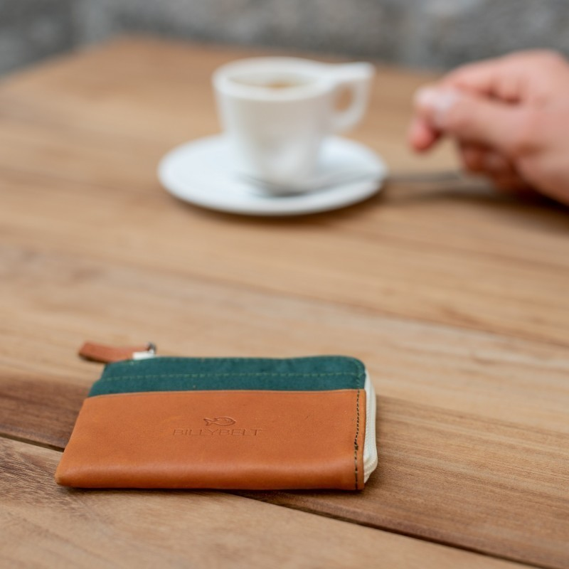 Zipped Card Holder  Dark Green