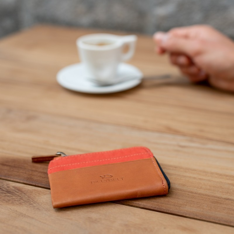 Zipped Card Holder  Orange Brick