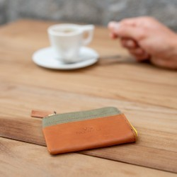 Porte-cartes zip  Vert Kaki