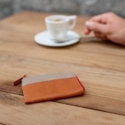 Porte-cartes zip  Beige Foncé