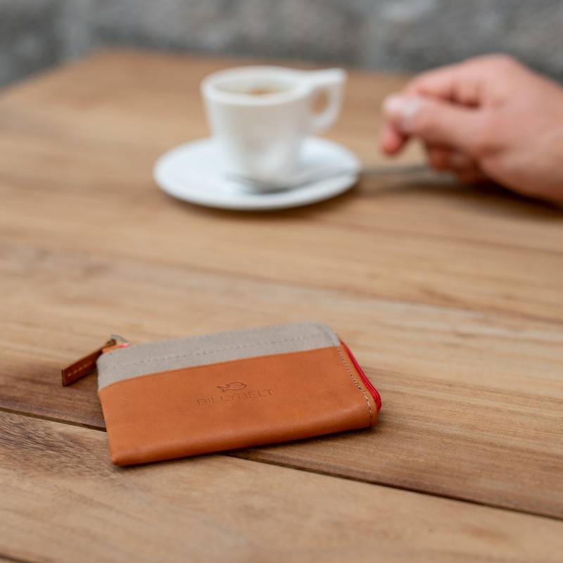 Zipped Card Holder  Dark Beige