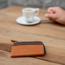 Zipped Card Holder  Brown Leaf