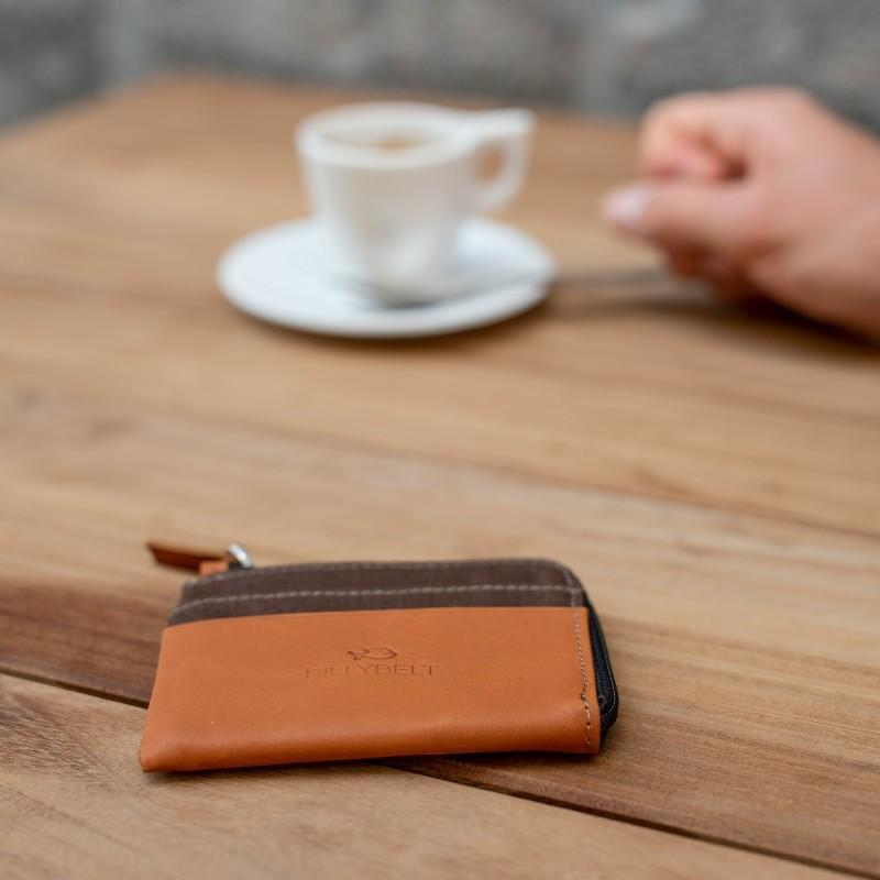 Porte-cartes zip  Marron Feuille