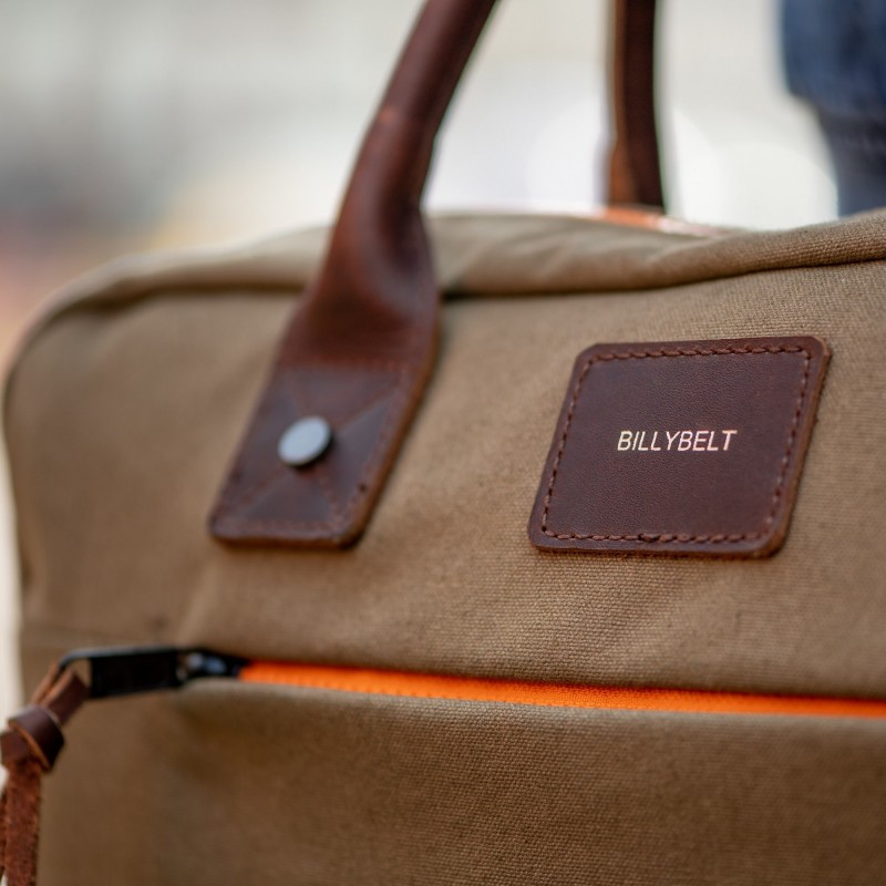 Laptop Bag  Khaki and Orange