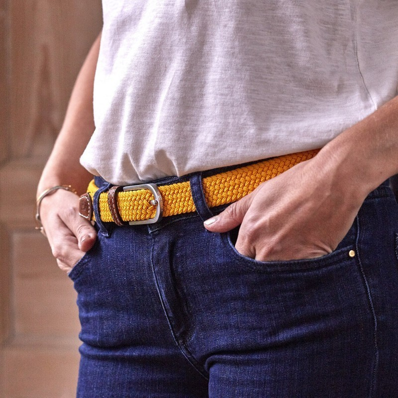 Women woven belt  Saffron Yellow
