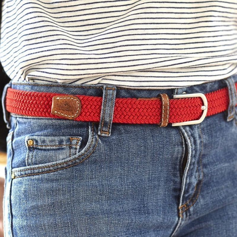 Women woven belt  Red Grenade