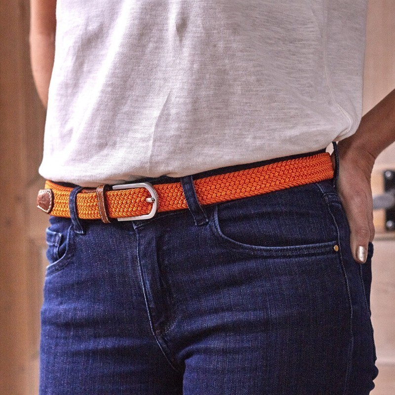 Women woven belt  Orange Paprika