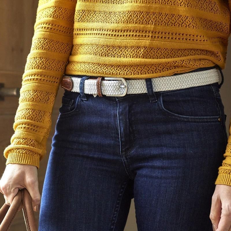 Women woven belt  Coco White
