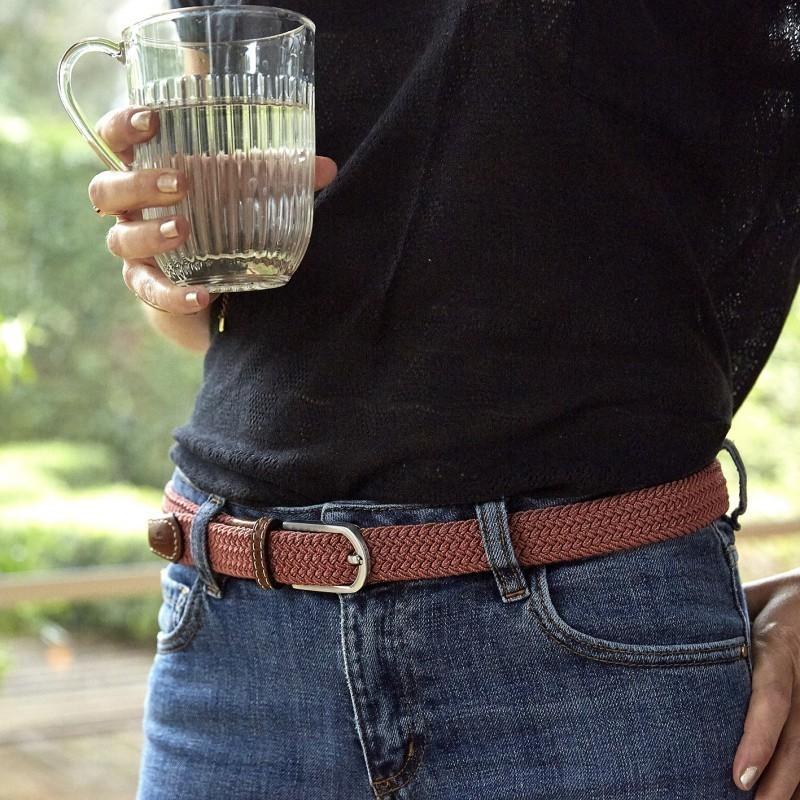 Women woven belt  Rosewood