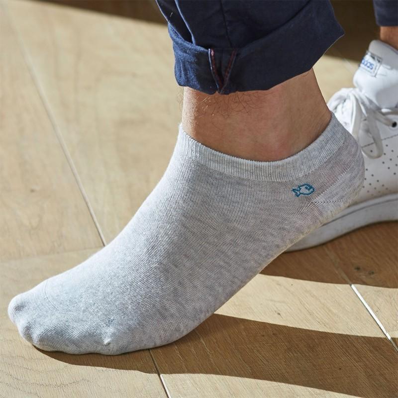Socquettes coton Gris Clair Chiné