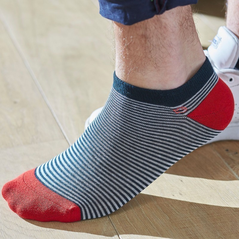 Cotton ankle socks Striped English Green