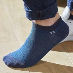 Socquettes coton Rayée Bleu Chiné