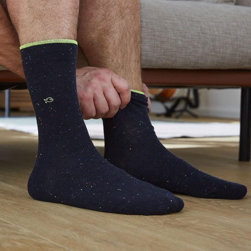 Cotton socks Mottled Navy Blue