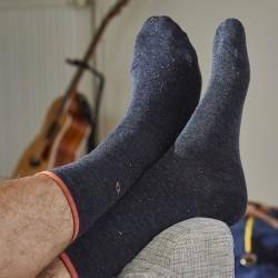 Chaussettes coton Mouchetées Gris Foncé Chiné