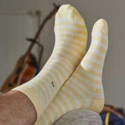 Cotton socks Fine Stripes yellow / white