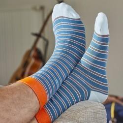 Chaussettes coton Fines Rayures bleu / orange