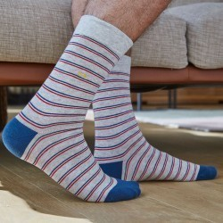 Cotton socks Fine Stripes grey / blue