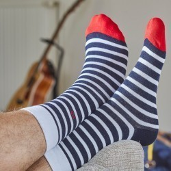 Cotton socks Wide Stripes Navy Blue / White