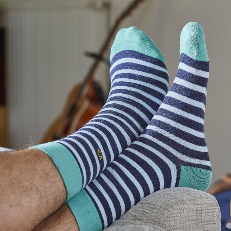 Chaussettes coton Larges Rayures bleu chiné / vert