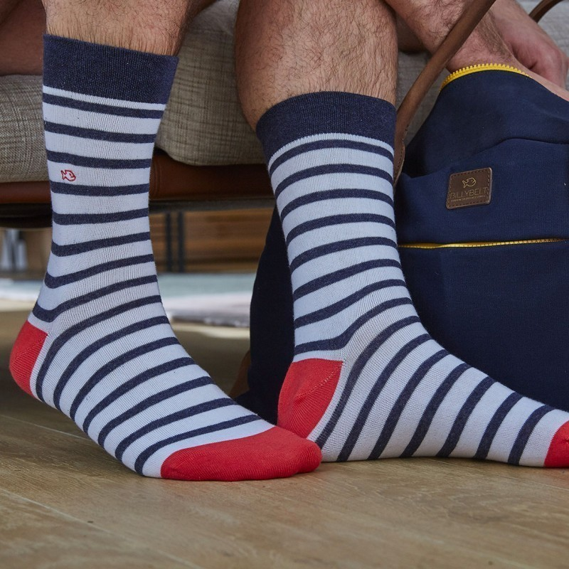 Cotton socks Wide Stripes White / Coral