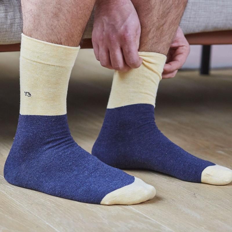 Cotton socks Bi-colours mottled Yellow / mottled Blue