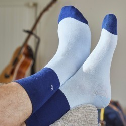 Cotton socks Bi-colours Navy blue / Sky blue