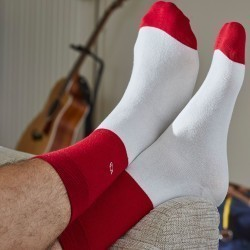 Cotton socks Bi-colours Red / Beige