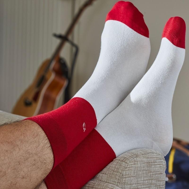 Chaussettes coton Bi-colors Rouge / Beige