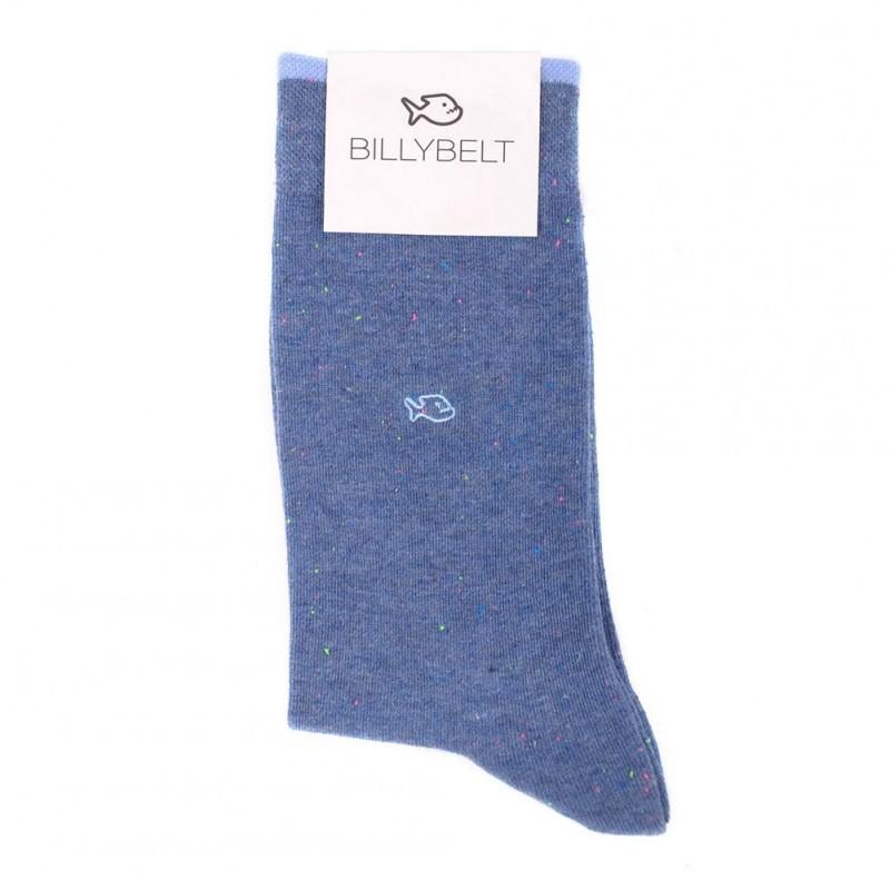 Chaussettes coton Mouchetées Bleu Clair Chiné